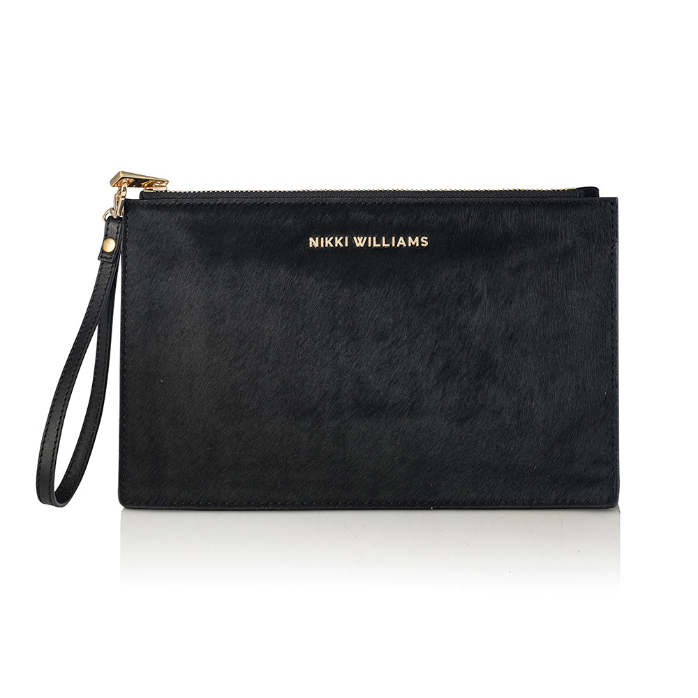 Capri Calfhair Clutch - Black