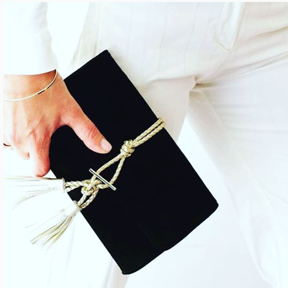 Marni Black Suede Clutch with Gold Tassel