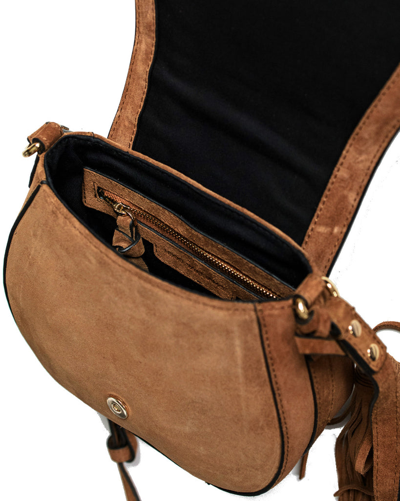 womens designer tan saddle bag in suede leather