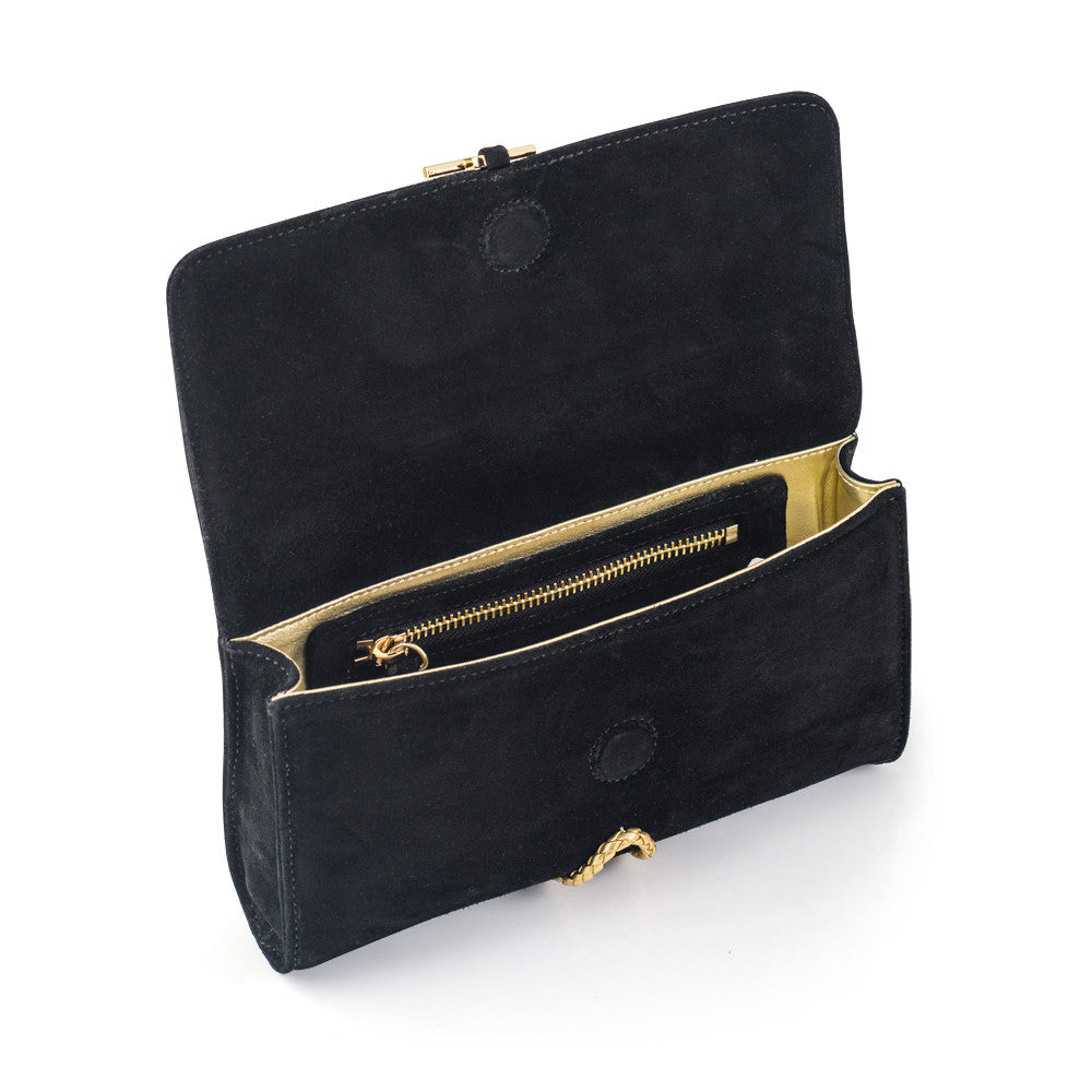 Marnie Black Clutch with Gold lining and tassel detail.
