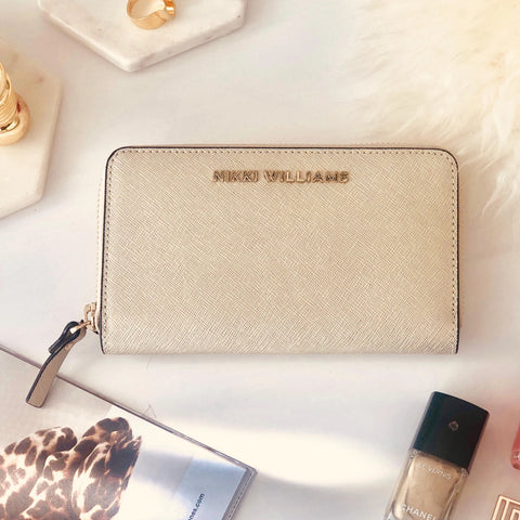 'Bellini' Saffiano Leather Wallet / Purse - Champagne Gold