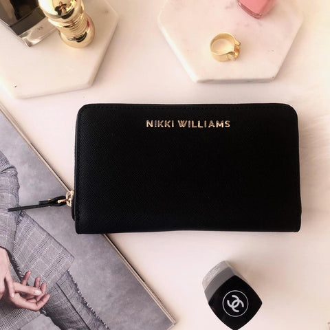 'Bellini' Black Saffiano Leather Wallet / Purse