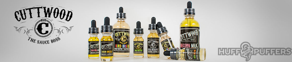 Cuttwood E Liquid | unicorn milk | boss reserve | bird brains | mega melons | sugar drizzle | mr fritter