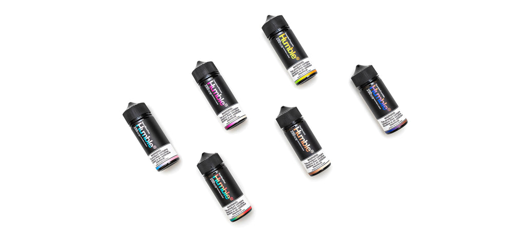 Picture of 6 available flavors from Humble Synthetic E-liquid Line
