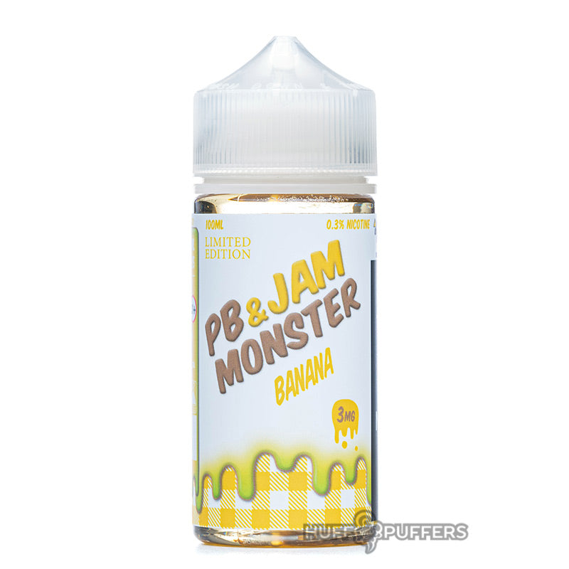 pb & jam monster banana 100ml e-liquid bottle by jam monster