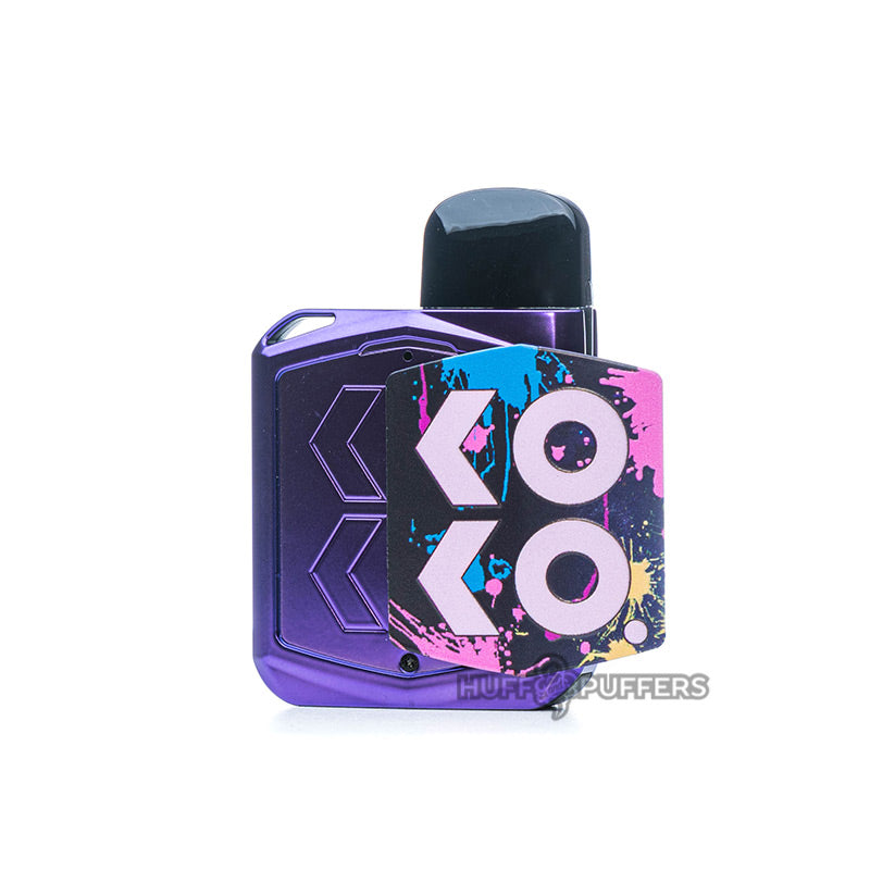 uwell caliburn koko prime pod device in purple with magnetic panel