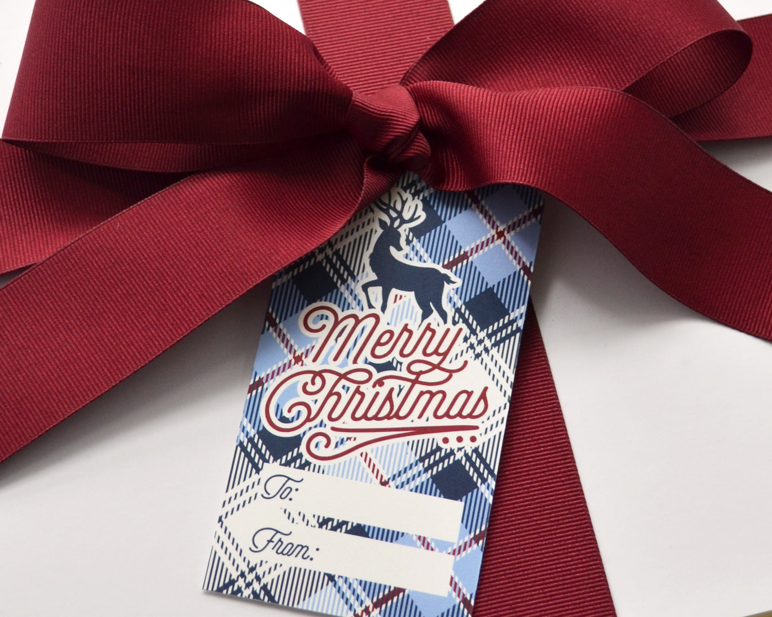 Personalized Blue Plaid Christmas Gift Tags