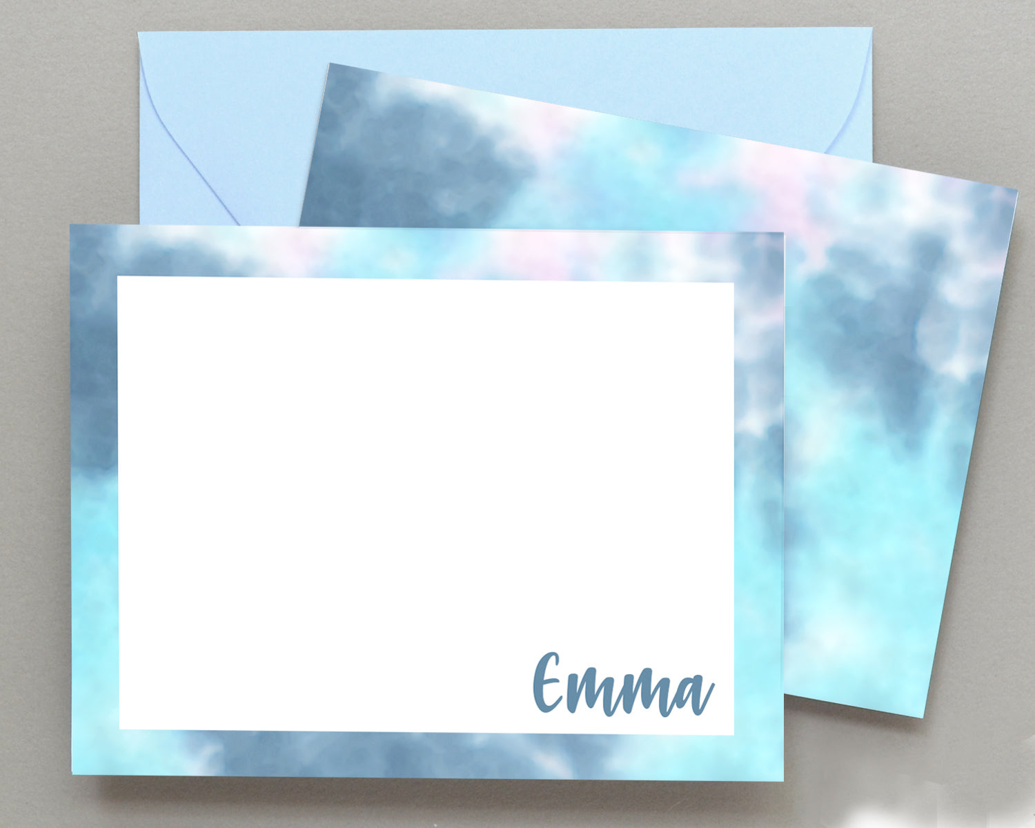 Personalized Blue Tie Dyed Stationery for Kids