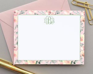 Personalized Blush Floral Note Cards