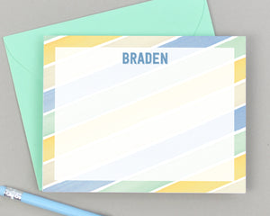 Boys Personalized Rainbow Stripe Stationery for Kids