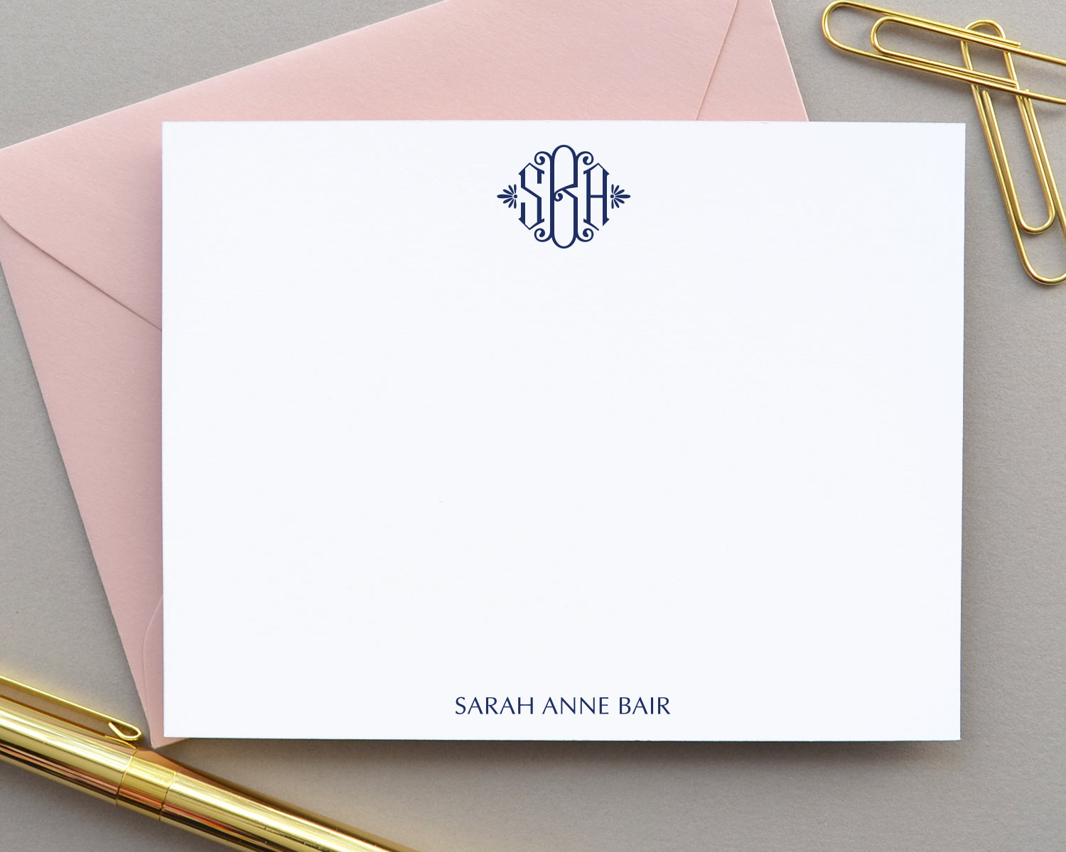 Brigette Monogrammed Note Cards with Envelopes