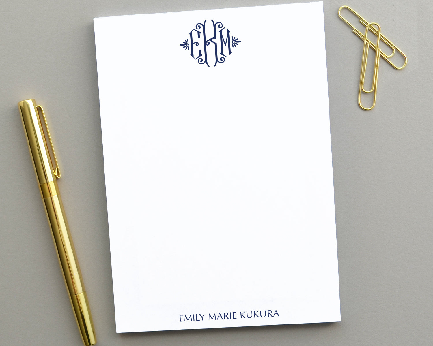 Elegant Monogrammed Notepad, Customized Notepad Personalized Gifts