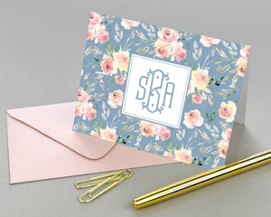 Dusty Blue & Blush Monogrammed Folded Note Cards