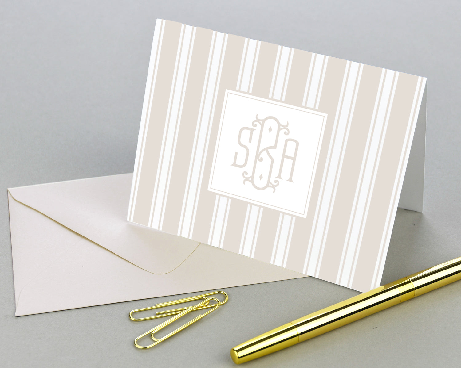 Striped Monogrammed Folded Note Cards