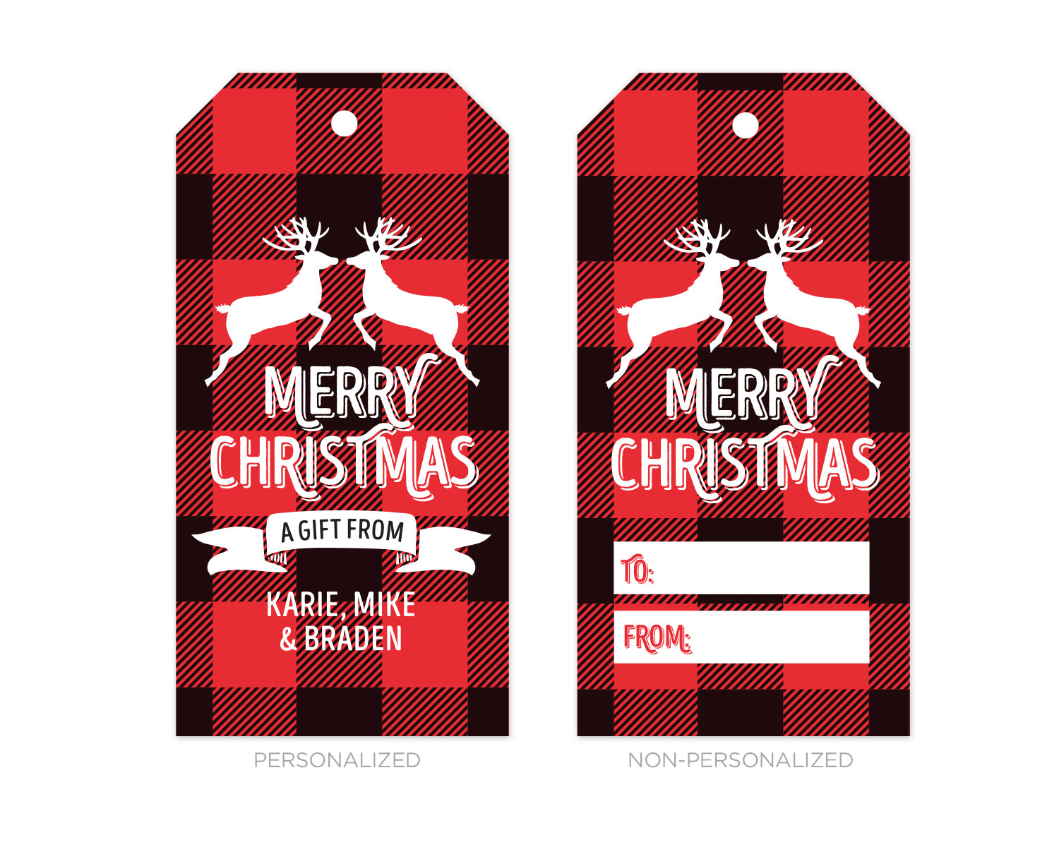 Personalized Buffalo Plaid Christmas Gift Tags