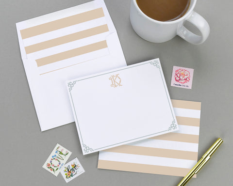 Monogrammed Vintage Stripe Note Card Set