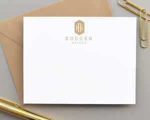 Personalized Monogrammmed Stationery for Men, Initial Note Cards
