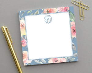 Dusty Blue & Blush Floral Notepad