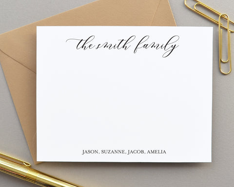 Modern Calligraphy Script Family Note Cards with Envelopes