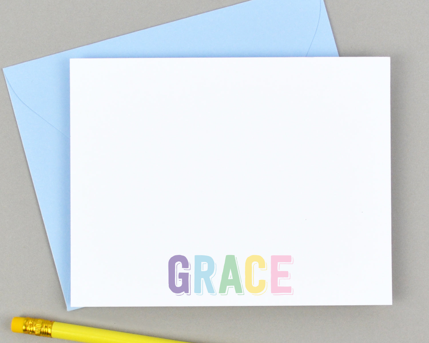 Girls Personalized Rainbow Name Stationery for Kids
