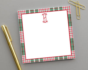 Personalized Red & Green Plaid Monogrammed Notepad