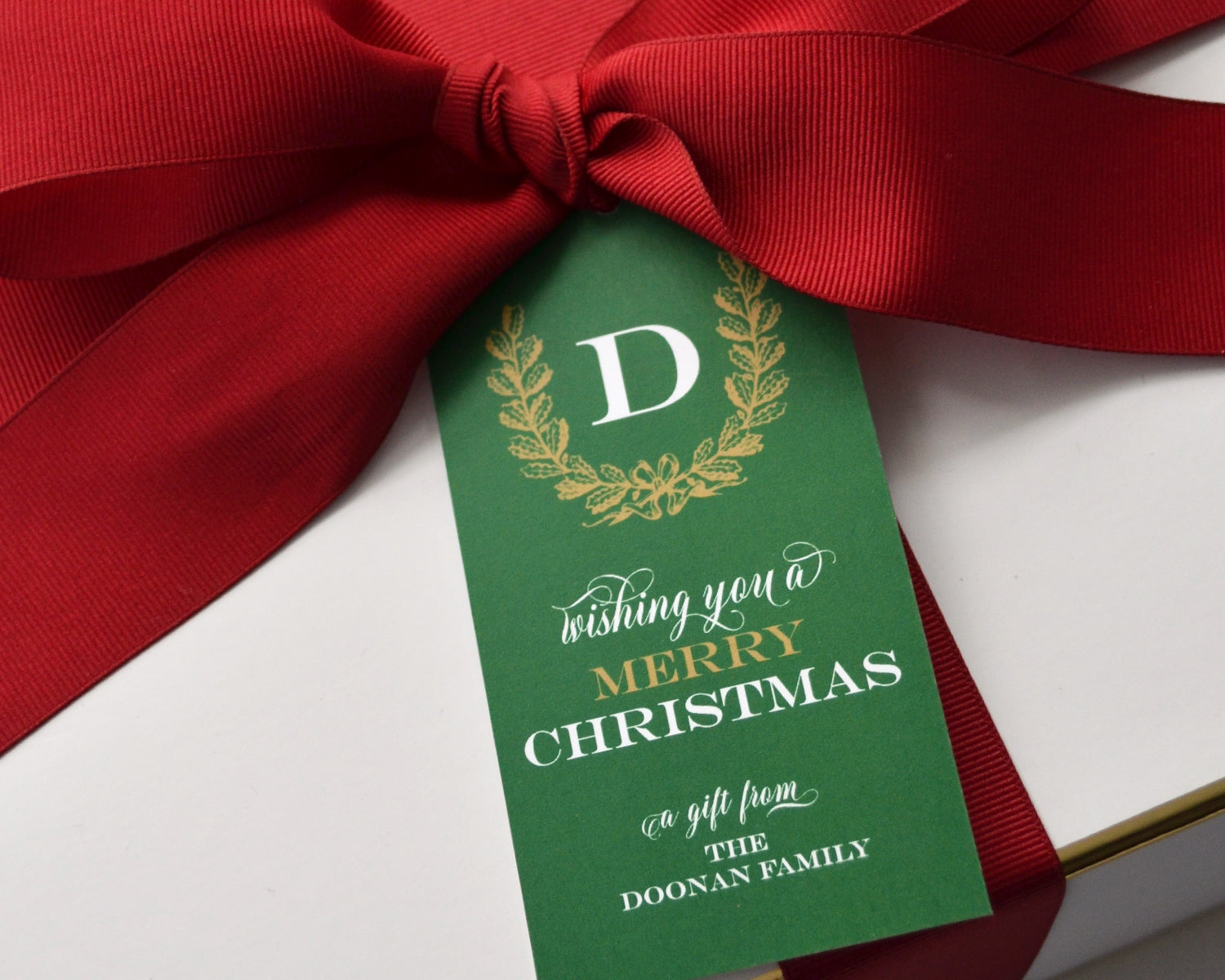 Personalized Green & Gold Wreath Christmas Gift Tags