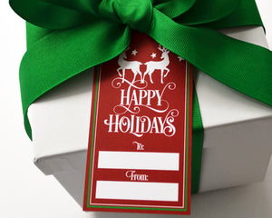 Personalized Burgundy Happy Holidays Gift Tags