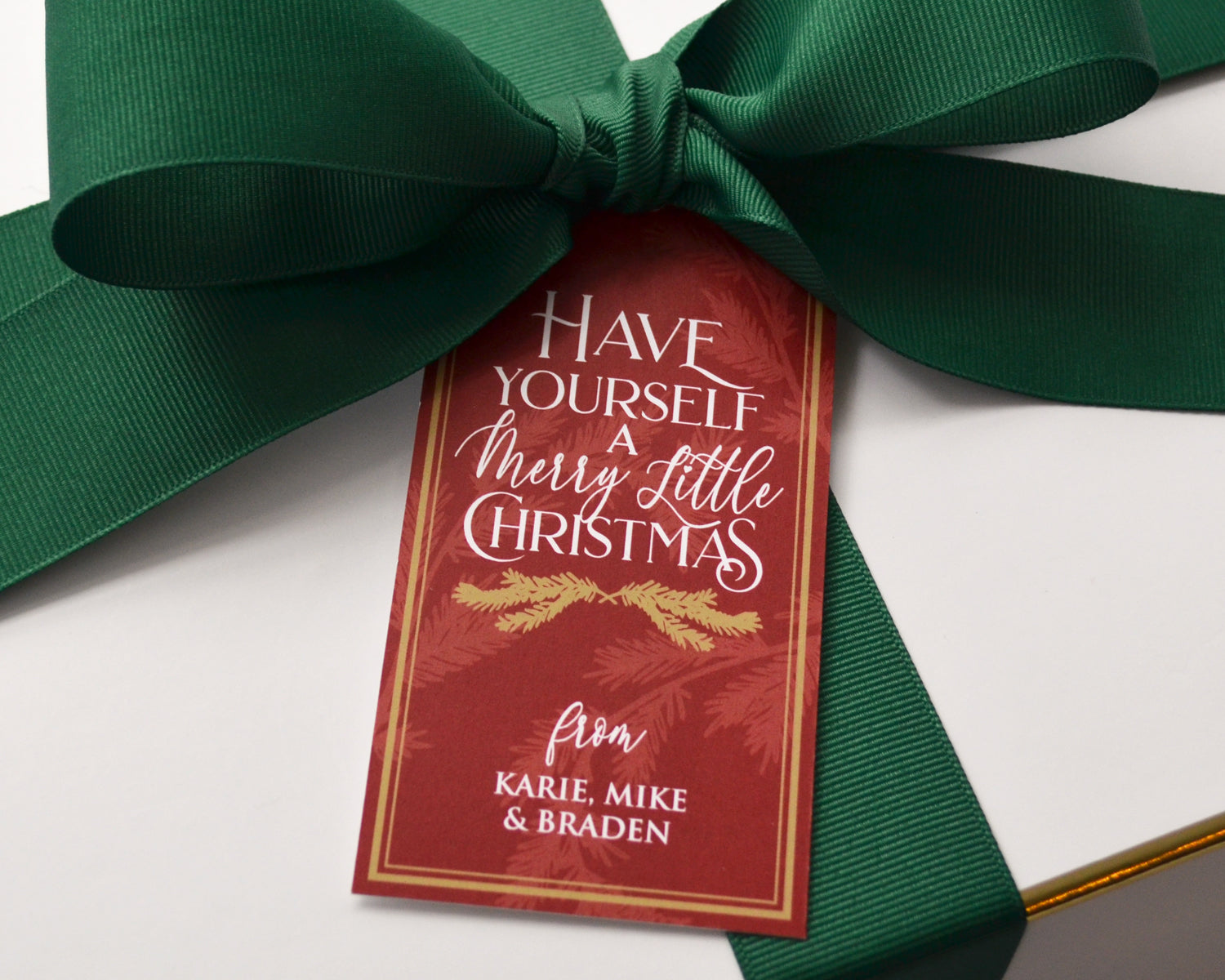 Personalized Burgundy and Gold Christmas Gift Tags