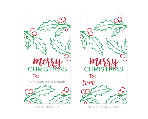 Merry Christmas Gift Tags.Personalized Merry Christmas Holly Gift Tags