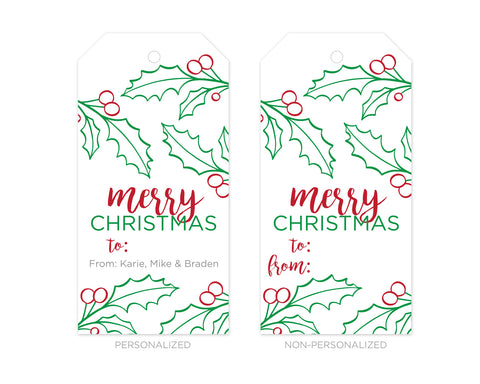 Personalized Merry Christmas Holly Gift Tags