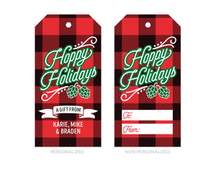 Hoppy Holidays Buffalo Plaid Christmas Gift Tags