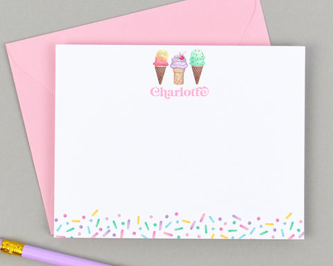 Personalized Ice Cream Notecard for Kids
