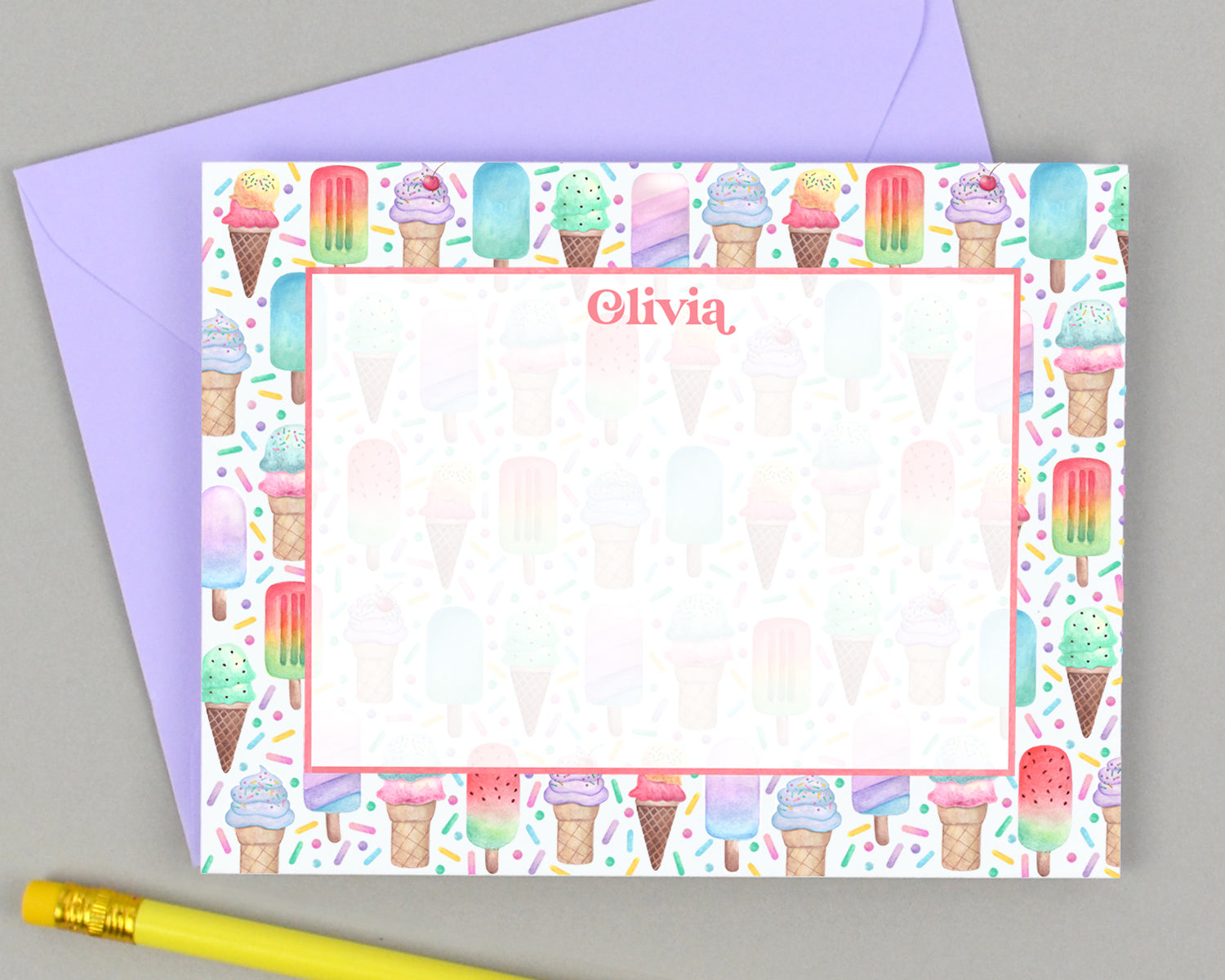 Personalized Ice Cream Cone & Popsicle Stationery for Kids