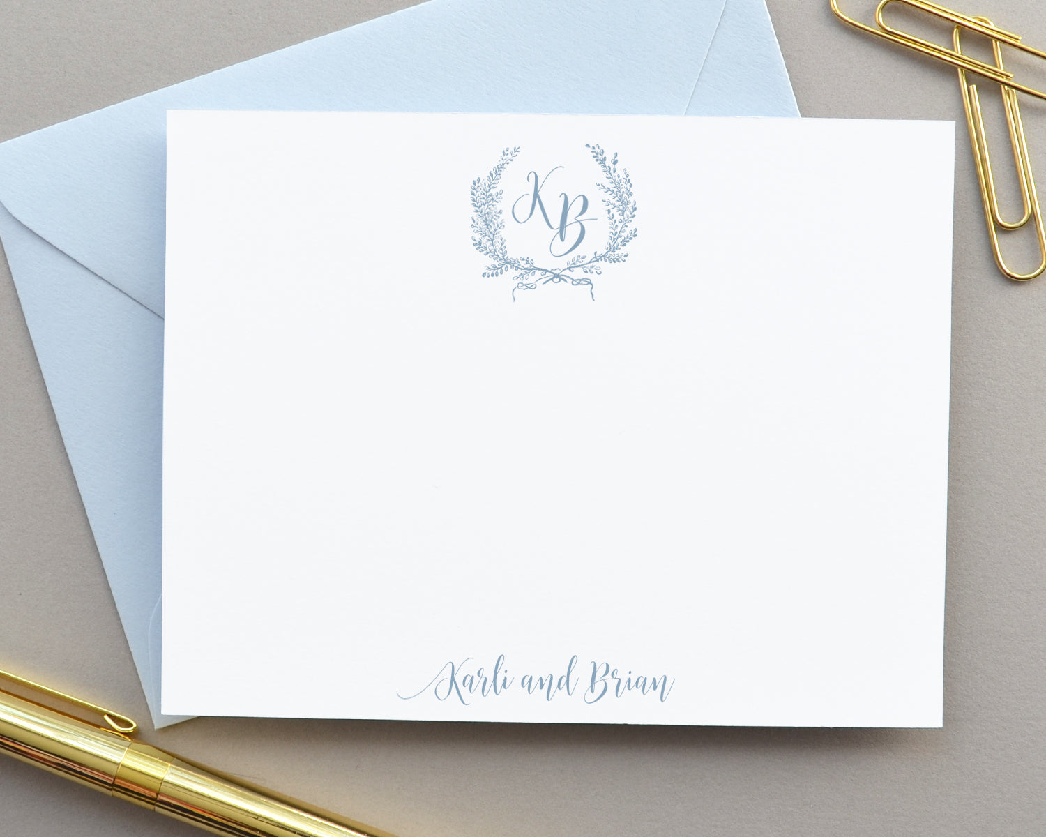 Elegant Laurel Crest Monogram Note Cards