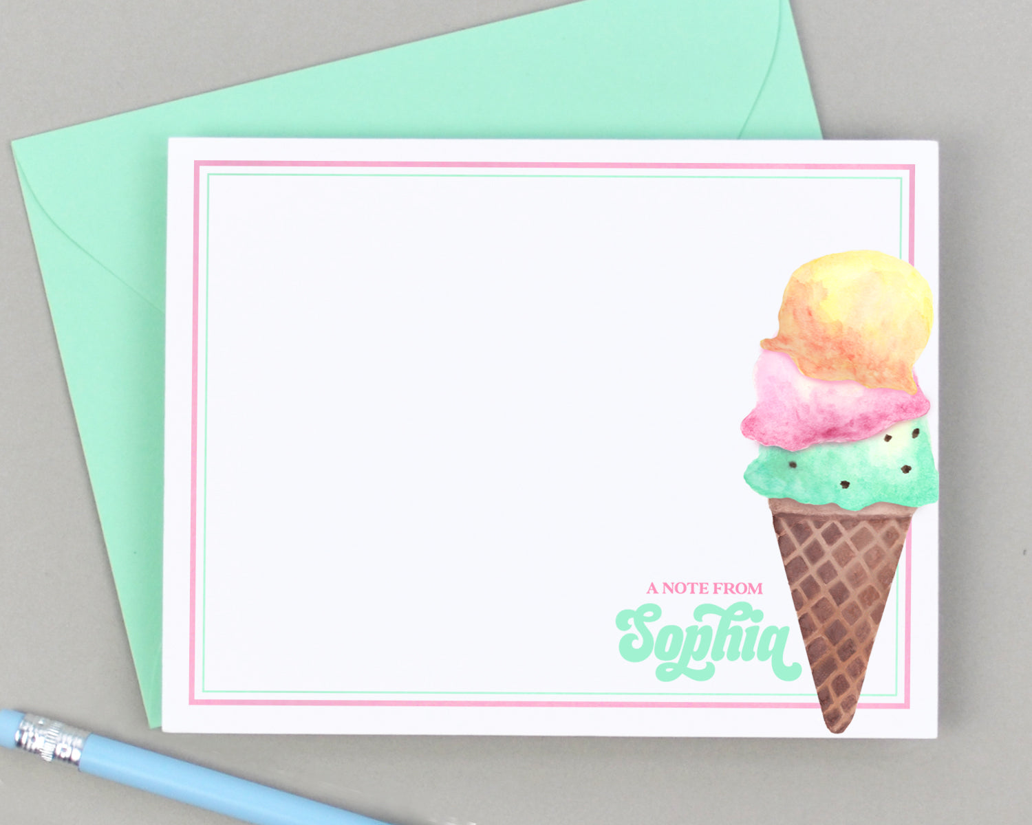 Personalized Ice Cream Cone Stationery for Kids