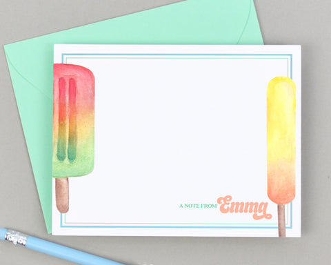 Personalized Popsicle Notecards for Kids