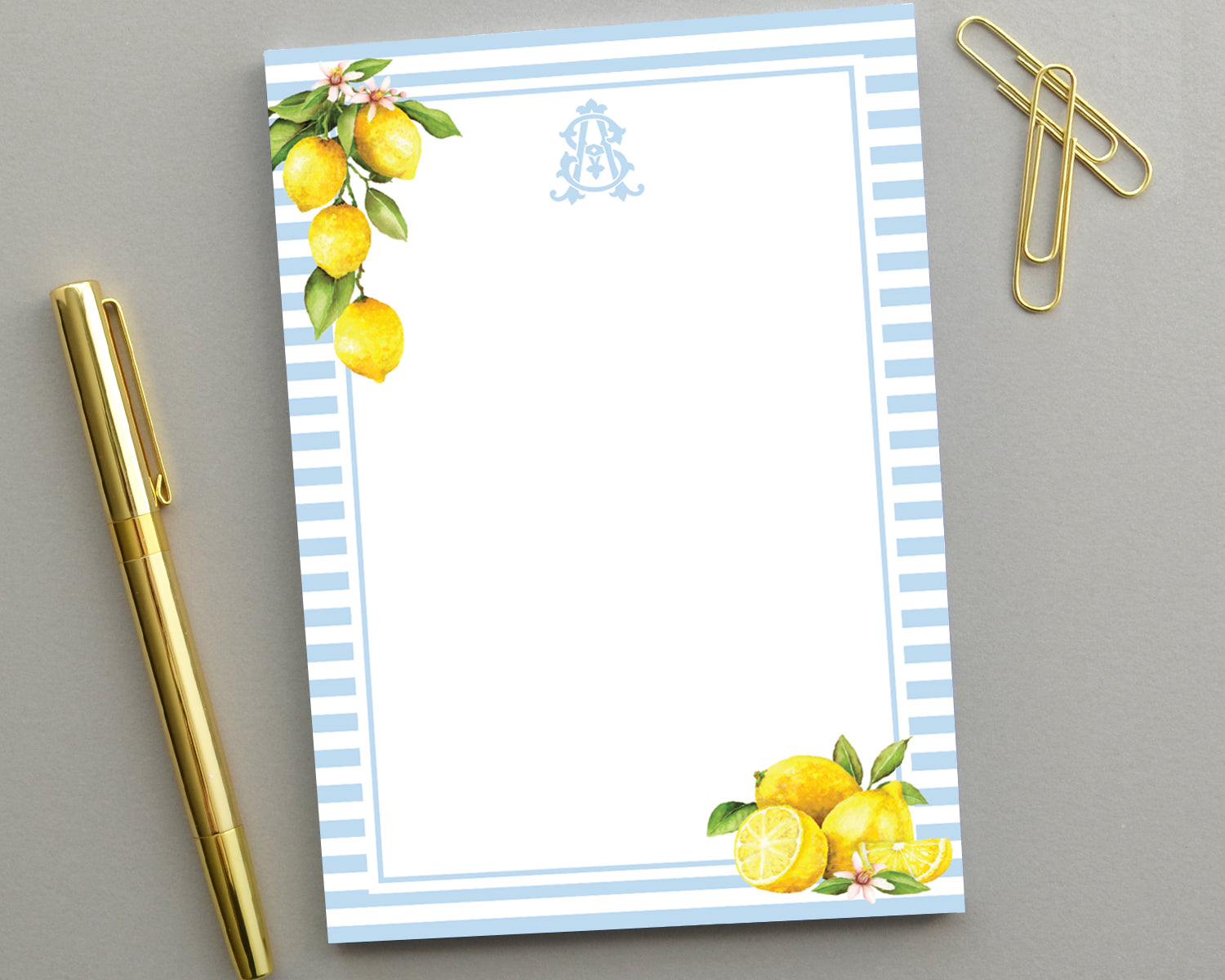 Lemon Watercolor Stripe Notepad