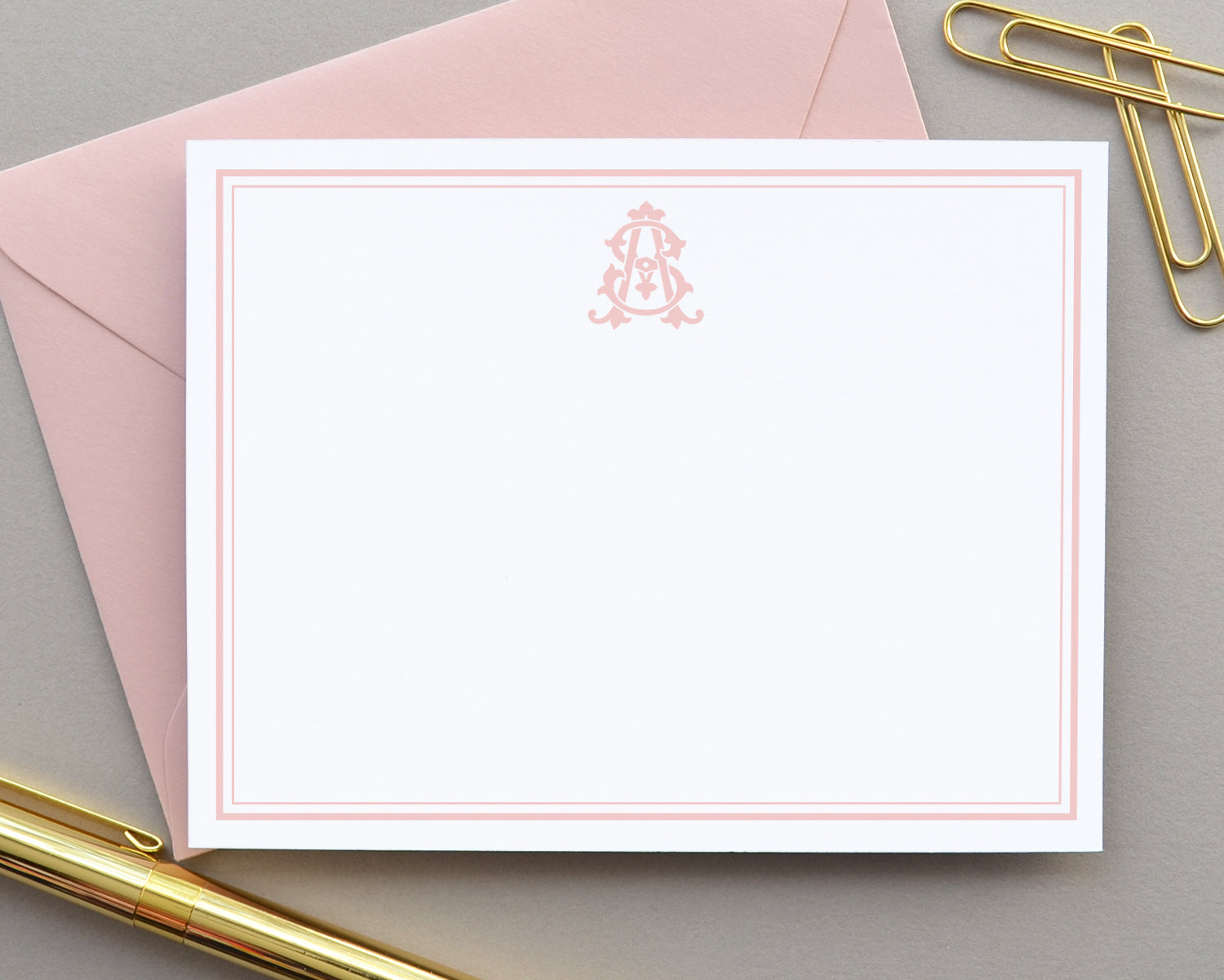 Two Letter Monogrammed Bordered Note Cards
