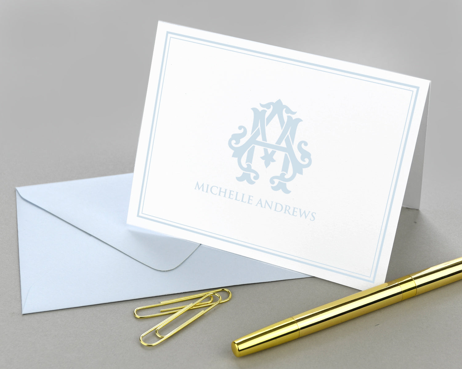 Monogrammed Bordered Folded Note Cards