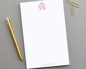 Traditional Monogrammed Notepad, Personalized Notepad Gift