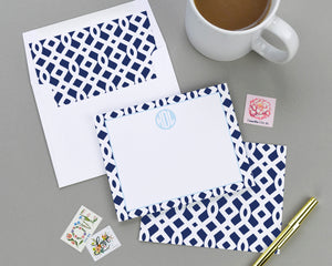 Geometric Trellis Patterned Note Card Set
