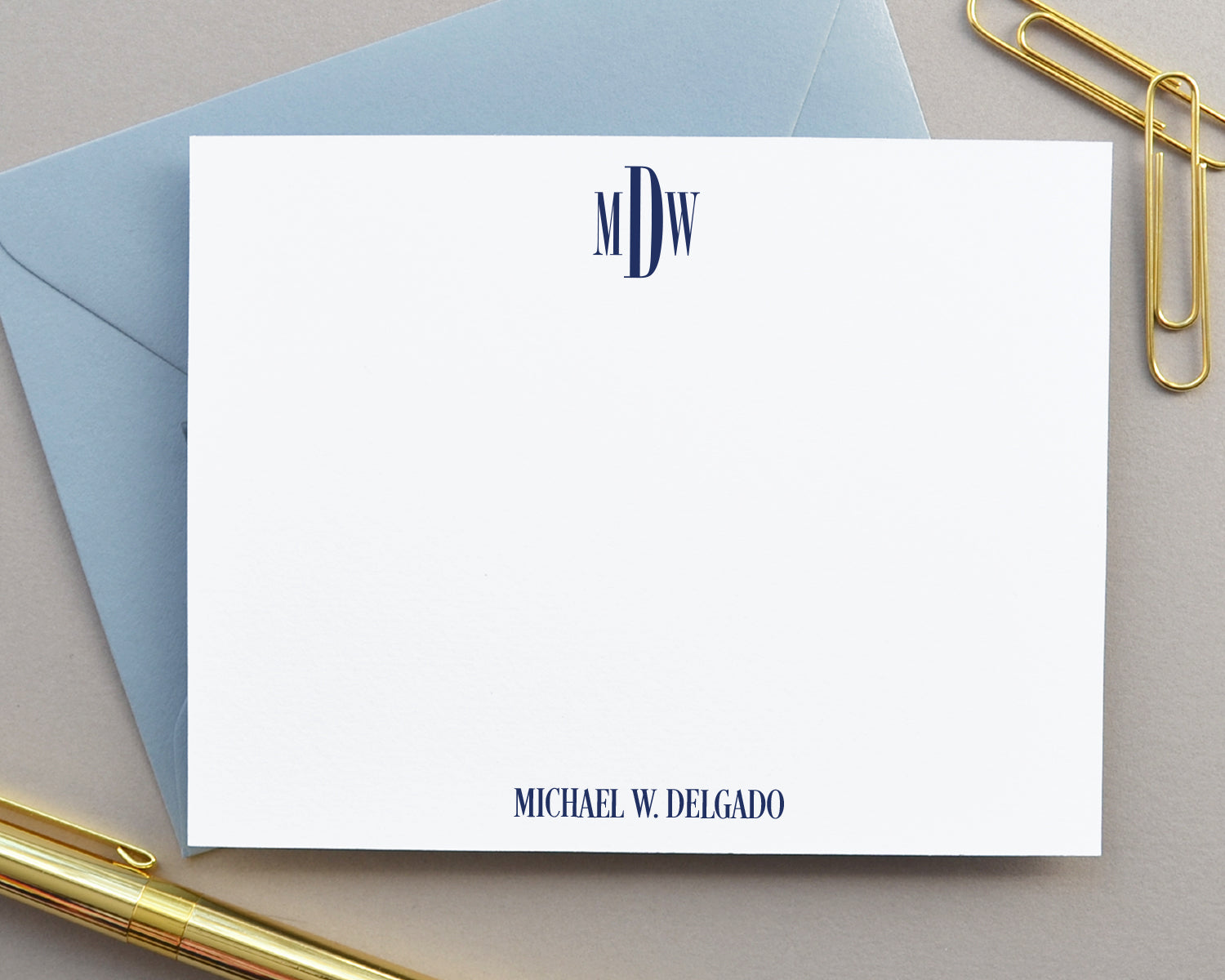 Classic Monogrammed Note Cards for Men