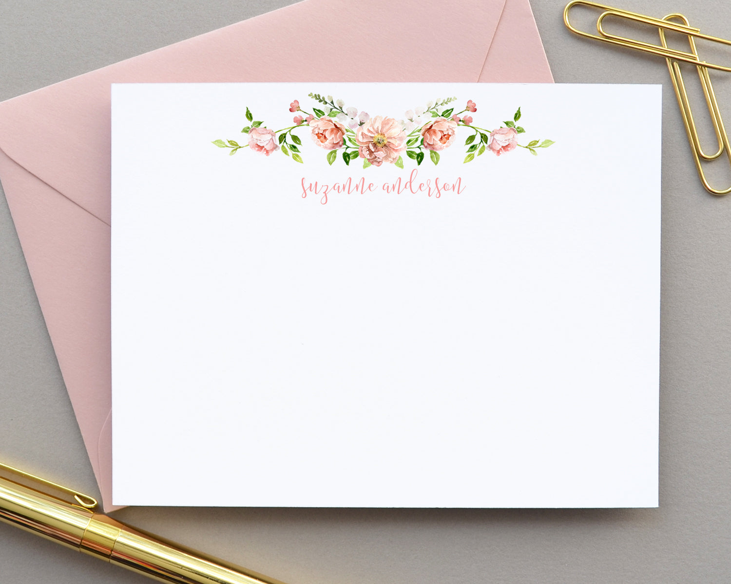 Personalized Peony Watercolor Floral Note Cards