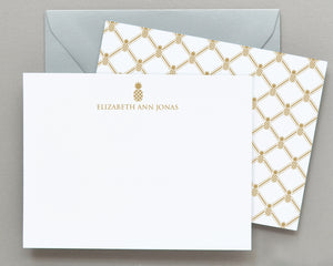 Personalized Pineapple Patterned Note Cards