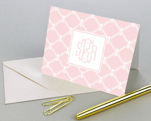 Pineapple Monogrammed Folded Note Cards