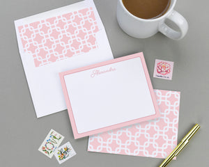 Square Trellis Patterned Note Card Set