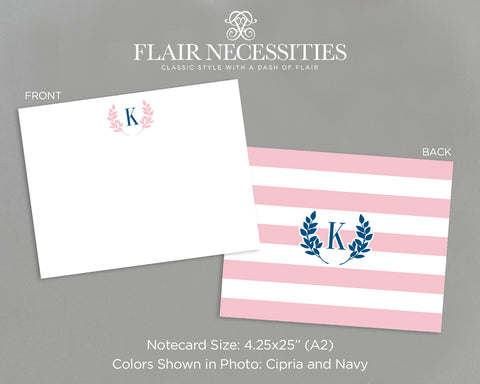 Monogrammed Stripe Note Card Set