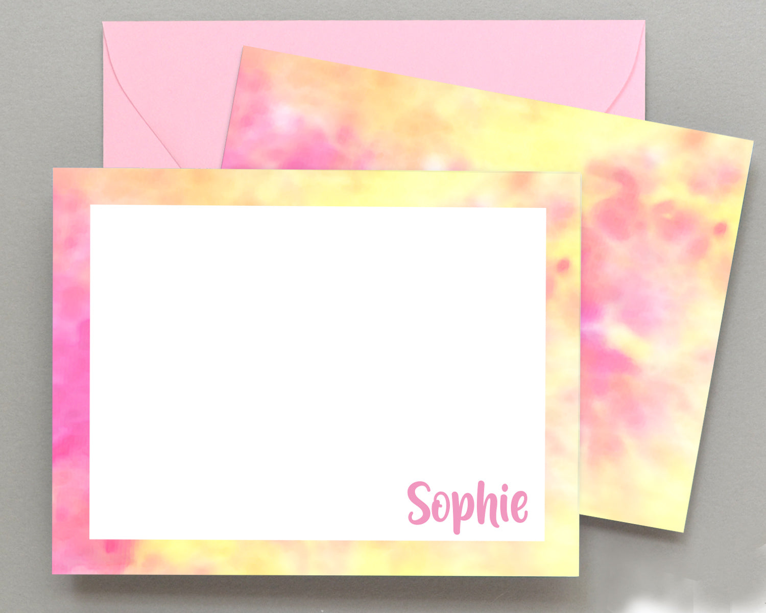 Personalized Pink & Yellow Tie Dyed Stationery for Kids