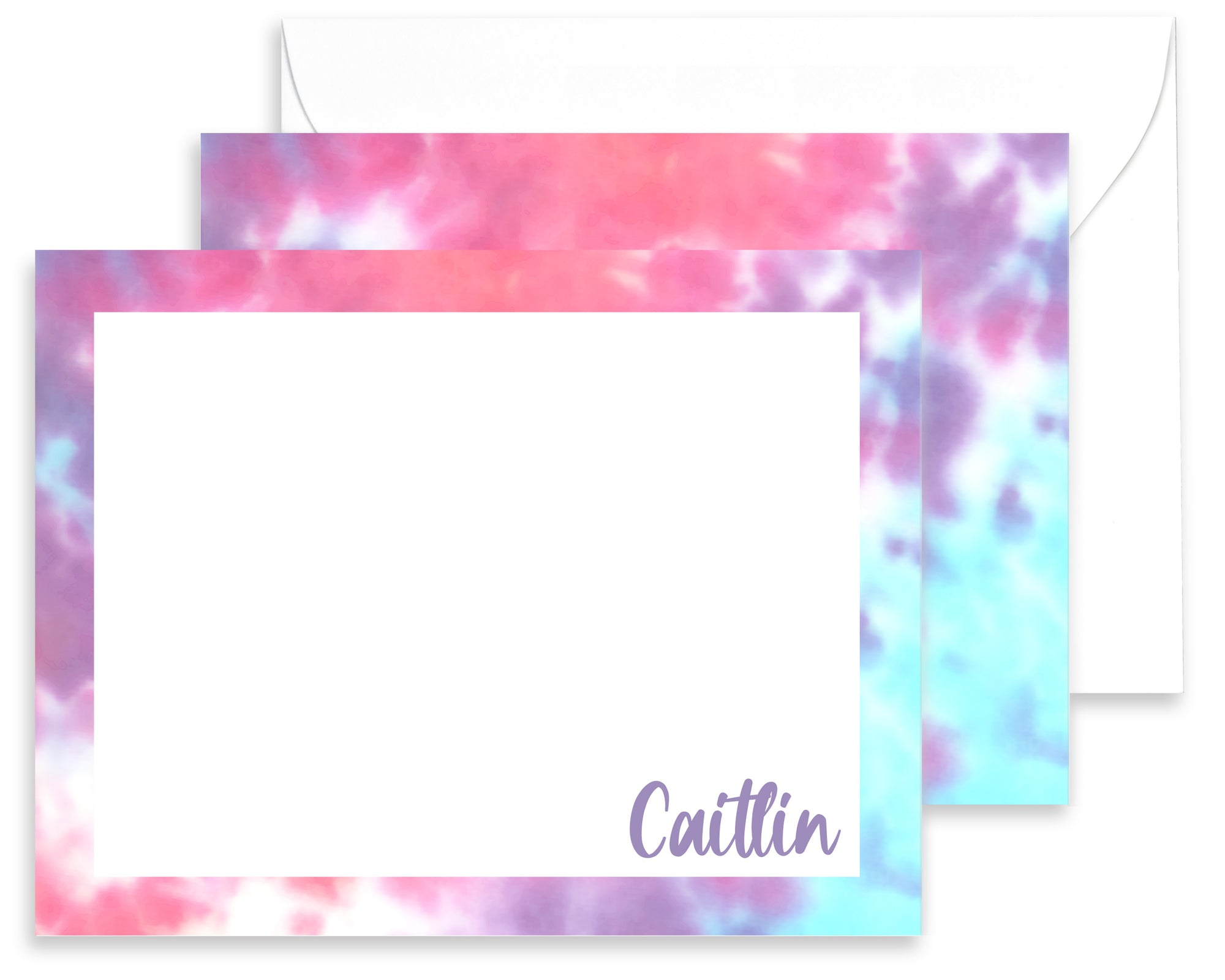 Personalized Purple, Pink & Blue Tie Dyed Stationery for Kids