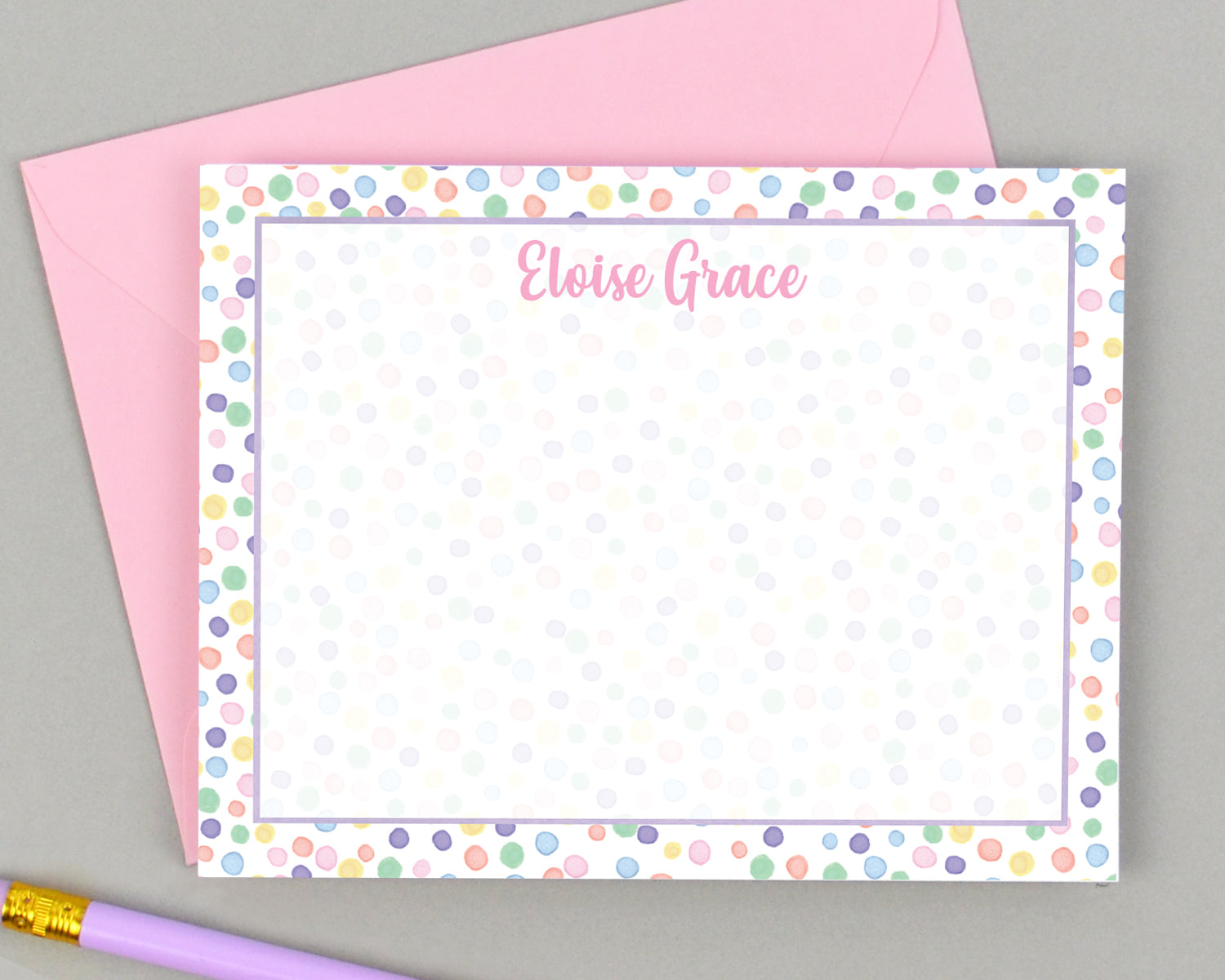 Girls Personalized Rainbow Dot Stationery for Kids